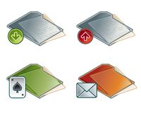 Auslegung-Elemente 45b. Faltblatt-Ikonen-Set Stock Abbildung