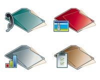 Auslegung-Elemente 45c. Faltblatt-Ikonen-Set vektor abbildung