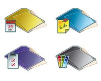 Auslegung-Elemente 45d. Faltblatt-Ikonen-Set Vektor Abbildung