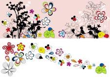 Auslegung mit dem Blumenzeichnen Stockfotos
