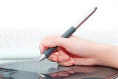 Auslegung mit einer digitalen Tablette Stockfoto