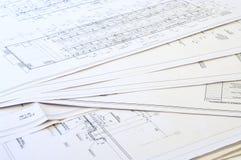 Auslegung- und Projektzeichnungen. Stockfotos