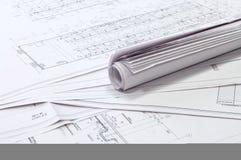 Auslegung- und Projektzeichnungen. Stockfoto