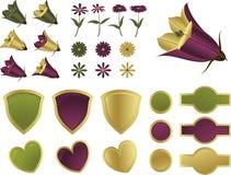 Auslegungelemente - Blumen und Schilder Stockfoto