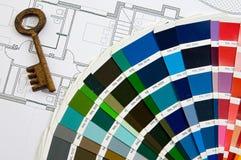 Auslegungfarben mit Taste lizenzfreies stockbild