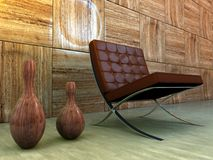 Auslegunginnenraum mit Stuhl Stockfoto
