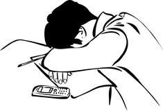 Auslegungkursteilnehmerschlaf, der auf Synopse sitzt Stockfotografie