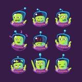 Ausländer in Satz UFO Emoji Lizenzfreies Stockfoto
