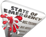 Ausnahmezustand Thermometer-Maßnahme Problem-Krisen-Niveau- Stockfotografie