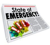 Ausnahmezustand Zeitungs-Schlagzeilen-Top-Thema-große Krise Lizenzfreie Stockfotografie