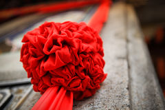 Auspicious Ball. Commonly found around door/entrance for celebration or housewarming or auspicious occasion. The red ball tied up as an auspicious sign, a Royalty Free Stock Photos