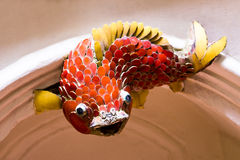Red Koi. Sculpture of red carp mosaics Stock Photos