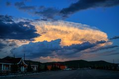 Auspicious clouds. The auspicious cloud in the evening service area Royalty Free Stock Photo