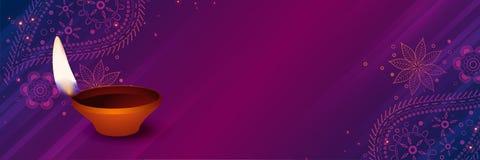 Auspicious diwali diya on purple decorative background. Vector stock illustration