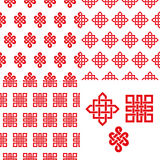 Auspicious Endless knots Chinese seamless pattern.Red Royalty Free Stock Photo