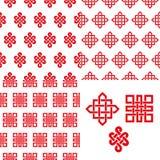 Auspicious Endless knots Chinese seamless pattern.Red. Endless Auspicious knot seamless pattern set.China,Tibet,Eternal,Buddhism and Spirituality icon,symbol stock illustration