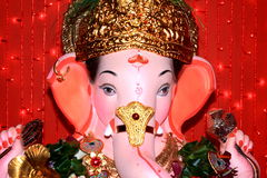 Auspicious face of a lord Ganesh. A beautiful and auspicious face of an Indian icon Stock Photos