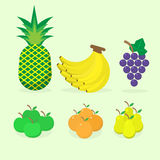 5 Auspicious fruit for make sacrifice. To Chinese gods pear, pineapple, grape, orange, banana Stock Photography