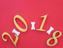 Auspicious new year 2018. An image of number 2018 in gold, symbolizing auspicious new year 2018, Year of the Dog royalty free stock image