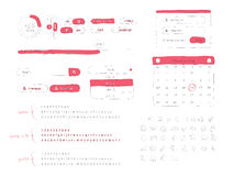 Ausrüstung des Gekritzel-UI Stockbilder