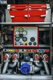 Ausrüstung in einem Feuerauto 1 Lizenzfreies Stockfoto