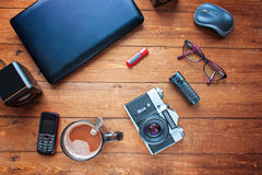 Ausrüstung für Arbeit Unterschiedliche Gegenstände und technisch schwierig Stockfoto