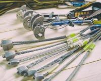 Ausrüstung für Bergsteigen und Klettern stockfoto