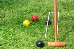 Ausrüstung für das Spielen des Kroketts Stockfotos