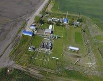 Ausrüstung für das trocknende Gas und die Kondensatsammlung Beschneidungspfad eingeschlossen Draufsicht der Ausrüstung für Öltren Stockbilder