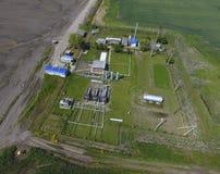 Ausrüstung für das trocknende Gas und die Kondensatsammlung Beschneidungspfad eingeschlossen Draufsicht der Ausrüstung für Öltren Stockbild