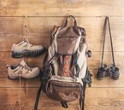 Ausrüstung für das Wandern Stockbild