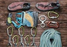 Ausrüstung für kletternden Sport Stockbilder