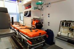 Ausrüstung für Krankenwagen. Ansicht von innen. Stockbild