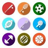 Ausrüstung für Sport Flache Sport-Gegenstände eingestellt Stockfoto