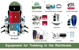Ausrüstung für Trekking im Regenwald Stockfotografie