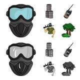 Ausrüstung, Maske, Fass, Barrikade Gesetzte Sammlungsikonen des Paintball in der Karikatur, einfarbiger Artvektor-Symbolvorrat lizenzfreie abbildung