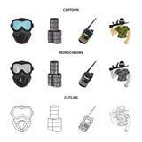 Ausrüstung, Maske, Fass, Barrikade Gesetzte Sammlungsikonen des Paintball in der Karikatur, Entwurf, einfarbiges Artvektorsymbol vektor abbildung