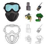 Ausrüstung, Maske, Fass, Barrikade Gesetzte Sammlungsikonen des Paintball in der Karikatur, Entwurfsartvektor-Symbolvorrat stock abbildung