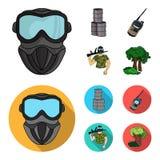Ausrüstung, Maske, Fass, Barrikade Gesetzte Sammlungsikonen des Paintball in der Karikatur, flacher Artvektor-Symbolvorrat lizenzfreie abbildung