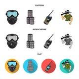 Ausrüstung, Maske, Fass, Barrikade Gesetzte Sammlungsikonen des Paintball in der Karikatur, flacher, einfarbiger Artvektor-Symbol stock abbildung