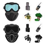 Ausrüstung, Maske, Fass, Barrikade Gesetzte Sammlungsikonen des Paintball in der Karikatur, schwarzer Artvektor-Symbolvorrat vektor abbildung