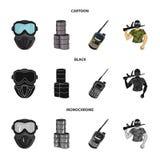 Ausrüstung, Maske, Fass, Barrikade Gesetzte Sammlungsikonen des Paintball in der Karikatur, Schwarzes, einfarbiger Artvektor-Symb stock abbildung