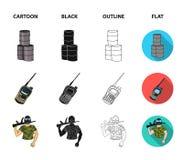 Ausrüstung, Maske, Fass, Barrikade Gesetzte Sammlungsikonen des Paintball in der Karikatur, Schwarzes, Entwurf, flaches Artvektor lizenzfreie abbildung