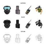 Ausrüstung, Maske, Fass, Barrikade Gesetzte Sammlungsikonen des Paintball in der Karikatur, Schwarzes, Entwurfsartvektor-Symbolvo lizenzfreie abbildung