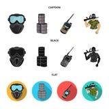 Ausrüstung, Maske, Fass, Barrikade Gesetzte Sammlungsikonen des Paintball in der Karikatur, Schwarzes, flacher Artvektor-Symbolvo vektor abbildung