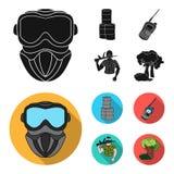 Ausrüstung, Maske, Fass, Barrikade Gesetzte Sammlungsikonen des Paintball in der schwarzen, flachen Artvektorsymbol-Vorratillustr lizenzfreie abbildung