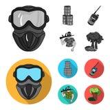 Ausrüstung, Maske, Fass, Barrikade Gesetzte Sammlungsikonen des Paintball einfarbiges, flaches Artvektorsymbolauf lager stock abbildung