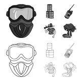Ausrüstung, Maske, Fass, Barrikade Gesetzte Sammlungsikonen des Paintball im Entwurf, einfarbiger Artvektor-Symbolvorrat lizenzfreie abbildung