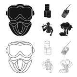 Ausrüstung, Maske, Fass, Barrikade Gesetzte Sammlungsikonen des Paintball im Schwarzen, Entwurfsartvektor-Symbolvorrat vektor abbildung