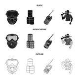 Ausrüstung, Maske, Fass, Barrikade Gesetzte Sammlungsikonen des Paintball in Schwarzem, einfarbig, Entwurfsart-Symbol stoc stock abbildung